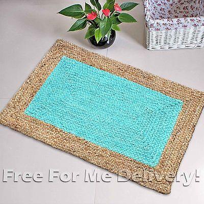 Natural Jute Aqua Blue Floor Rug Mat