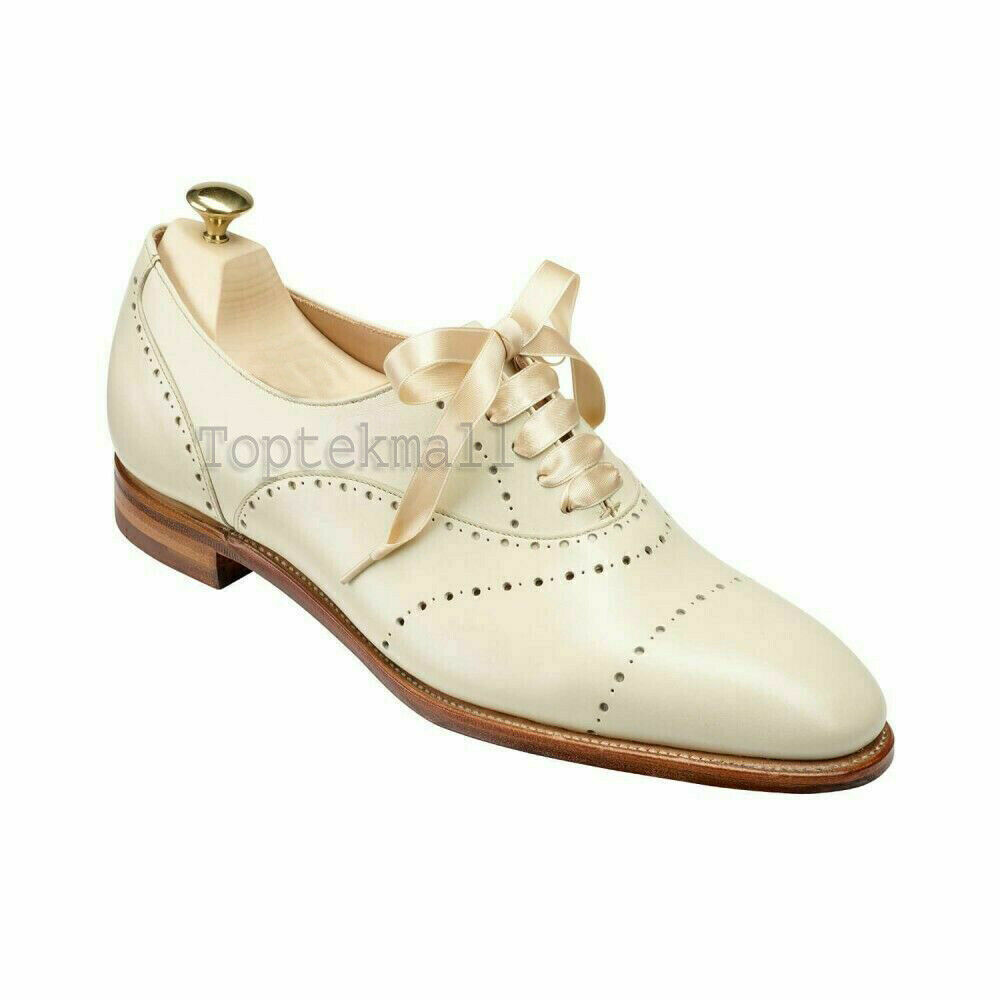 Handmade Women's Leather White Oxford Brogue Lace-Up Ribbon Shoes-907