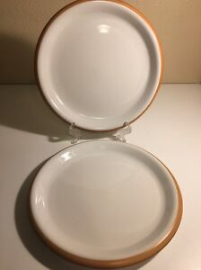 Image is loading 2-Crown-Corning-Japan-Sonora-Terra-Cotta-&- & 2 Crown Corning Japan Sonora Terra Cotta u0026 White Dinner Plates Ships ...