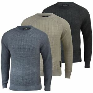 Mens-Jumper-Crosshatch-General-Waffle-Knitted-Crew-Neck-Wool-Mix-Sweater