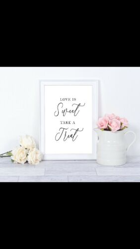 Love Is Sweet Take A Treat Wedding Trolley Foil Print Sign Marble Silver Gold
