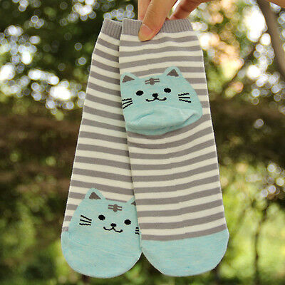 Women 3D Cartoon Animals Striped Socks Cat Footprints Cotton Socks