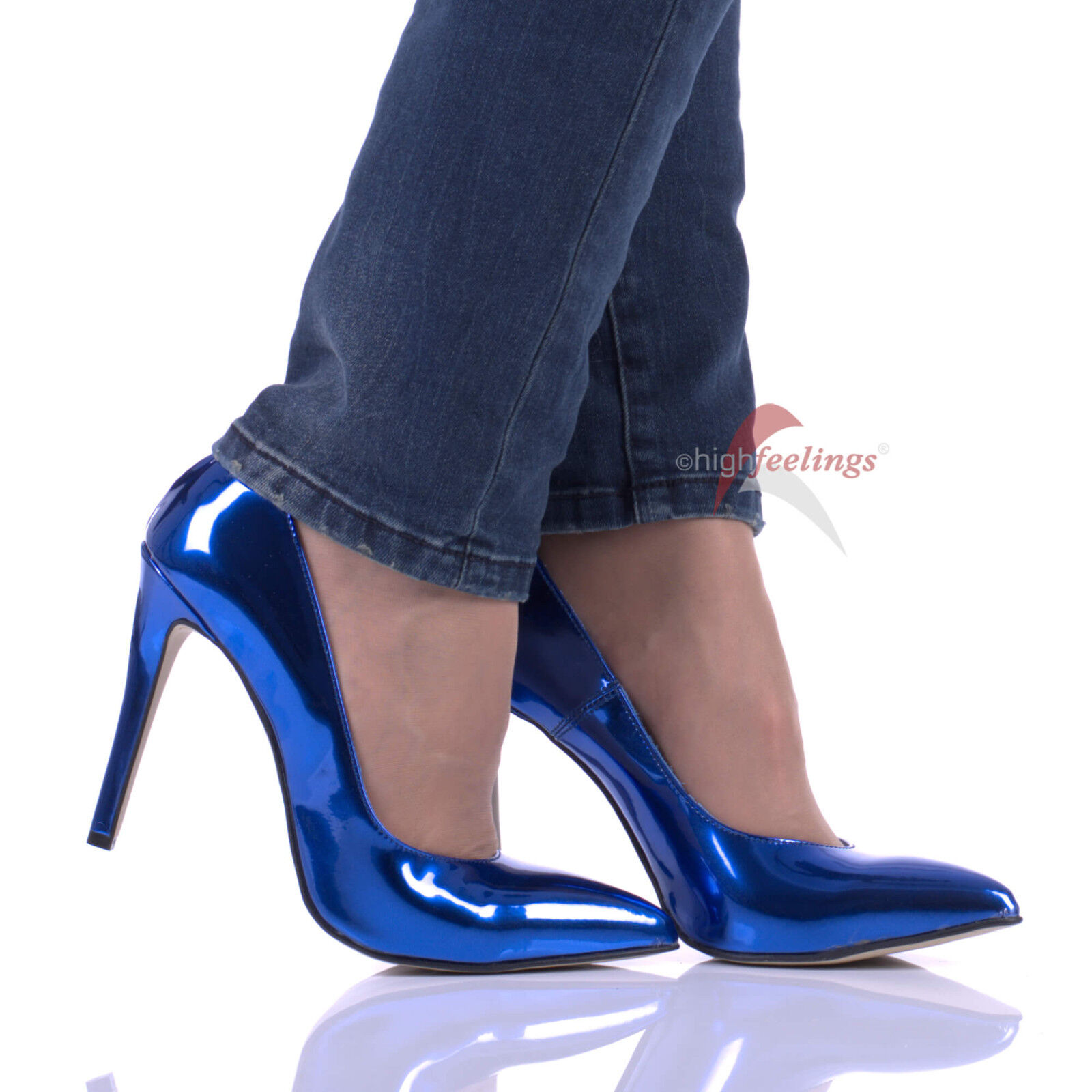 High Heels Pumps Blau Metallic Lackleder 10 - 12 cm Absatz Größe EUR 36 - 47