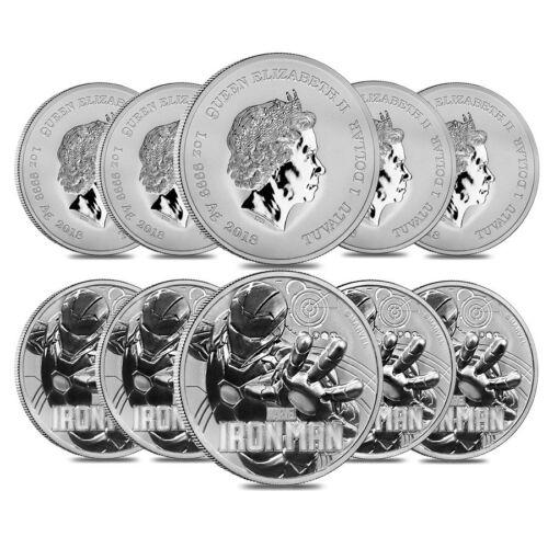 Lot of 10-2018 1 oz Tuvalu Iron Man Marvel Series Silver Coin .9999 Fine