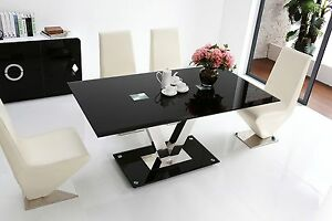 FLORINI-039-V-039-Gloss-Chrome-Black-Metal-Glass-6-Seater-Chairs-Dining-Table-Only