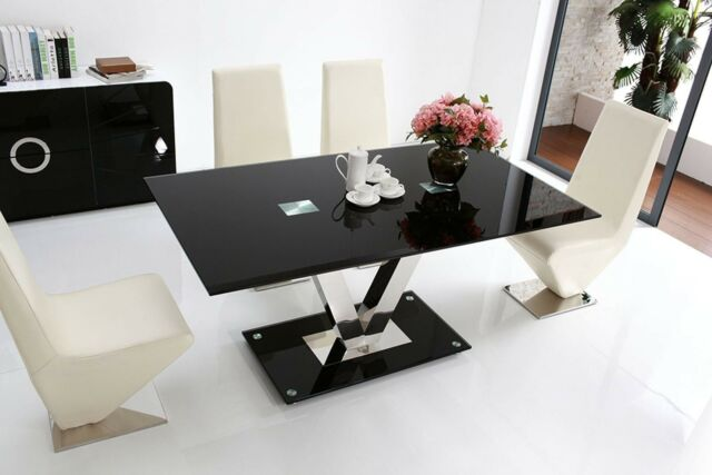 FLORINI 'V' Gloss Chrome Black Metal Glass 6 Seater Chairs Dining Table Only