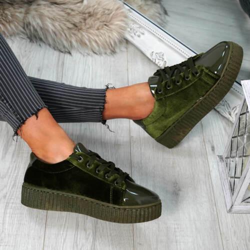 Femme Femmes Lacets Métallique Velvet Baskets Plateforme Mode Chaussures Taille UK