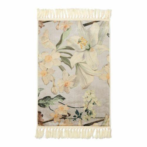 ESSENZA Teppich Rosalee Grau Blumen Blüten Geblümt Weich Läufer Vorleger Velours