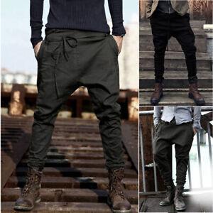Mens Autumn Winter Joggers Patchwork Casual Drawstring Sweatpants Trouser Pants