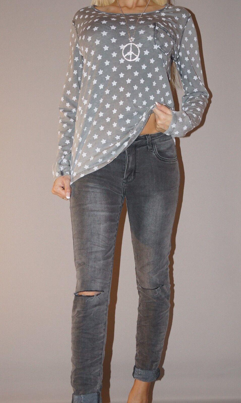 NEU Skinny Jeans Vintage Sexy Blogger Hose Ripped Knees S 36 Grau Anthrazit
