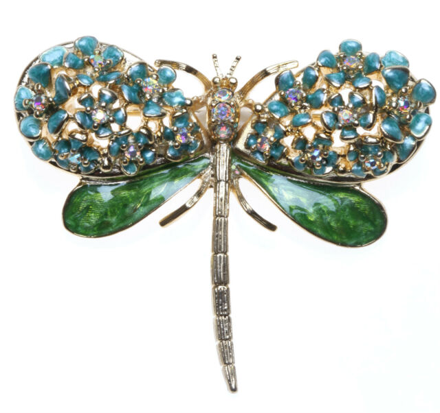 KIRKS FOLLY FORGET ME NOT DRAGONFLY PIN Goldtone