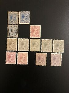 1890-97-Philippines-034-King-Alfonso-XIII-034-Lot-of-13-Used-amp-Unused-Stamps