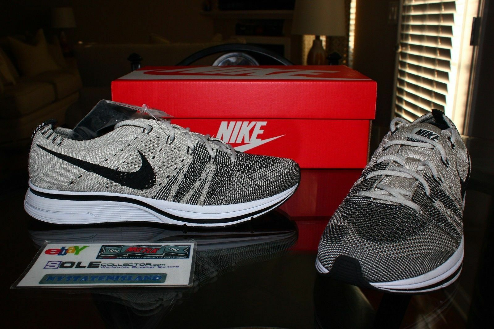 Deadstock Nike Flyknit Trainer Pale Grey Black White AH8396-001 Size 14