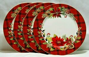Grace-Teaware-Poinsettia-amp-Plaid-Porcelain-Christmas-Dinner-Plates-Set-of-4-New