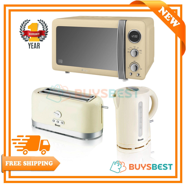 Swan Retro 20L Microwave, Cordless Design 1.7L Jug Kettle & 4 Slice Toaster Set