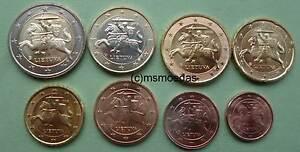 Litauen 8 Euromünzen 2018 Kms Mit 1 Cent Bis 2 Euro Münzen Coins