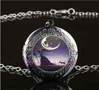 Gothic Witch and Cat Photo Glass Gun Black Chain Locket Pendant Necklace