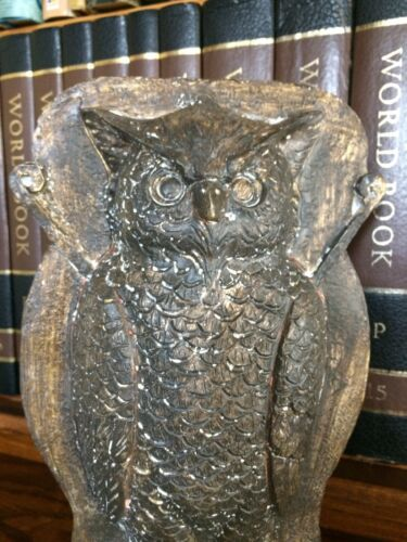 Primitive Tin Style Owl Silver Resin Chocolate Mold Rustic Halloween Home Decor