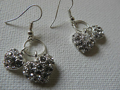 TWO LOVE HEARTS ON A RING DIAMANTE SILVER  DROP DANGLE EARRINGS new gift pouch