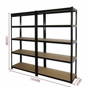 2x-0-9M-Black-Metal-Warehouse-Racking-Rack-Storage-Garage-Shelving-Shelf-Shelves