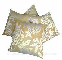 Set of 4 Cream & Gold Flocked Velvet Damask 18 inch Cushion Covers