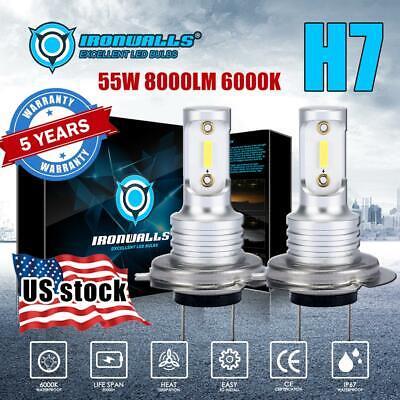 H7 LED Headlight Bulbs Conversion Kit Hi//Lo Beam 55W 8000LM 6000K Super Bright