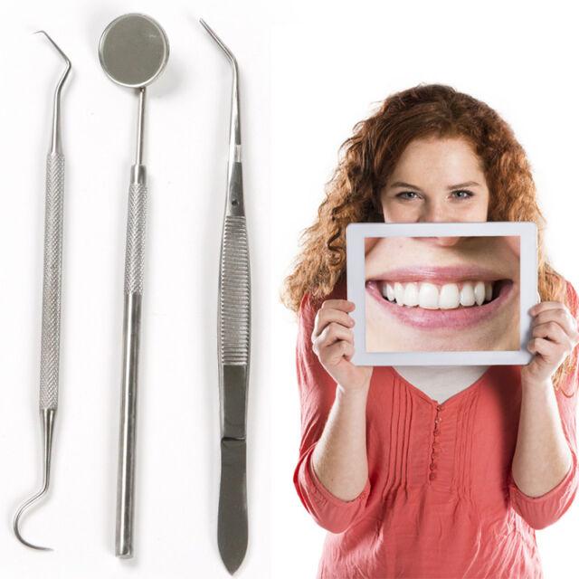 3pcs/Lot Stainless Dental Tool Set Kit Dentist Teeth Clean Hygiene Picks Mirror