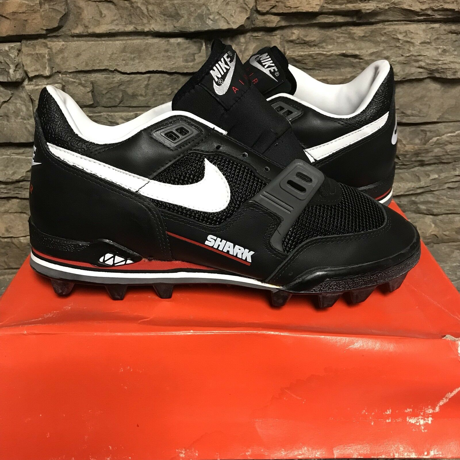 VTG Nike Air Boss Spikes Shark Mid Cleats 1990 Spikes Boss Athletic Chaussures 427b15