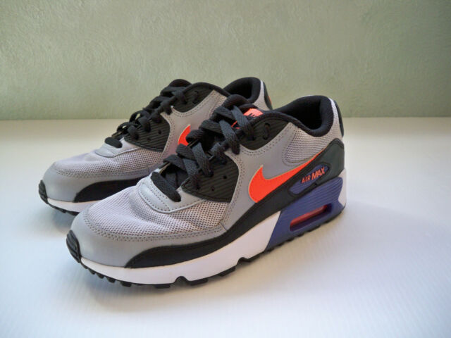 Kids SZ 6Y Nike Air Max 90 Mesh GS Wolf Grey,Orange Dark Purple Black SUPERB