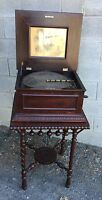 """15 1/2"""" REGINA MAHOGANY DOUBLE COMB DISC MUSIC BOX WITH STAND"""