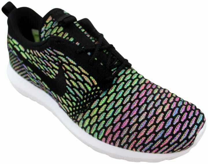 Nike Roshe NM Flyknit Black Black-Pink Power-bluee Glow 677243-013 Men's Size 10