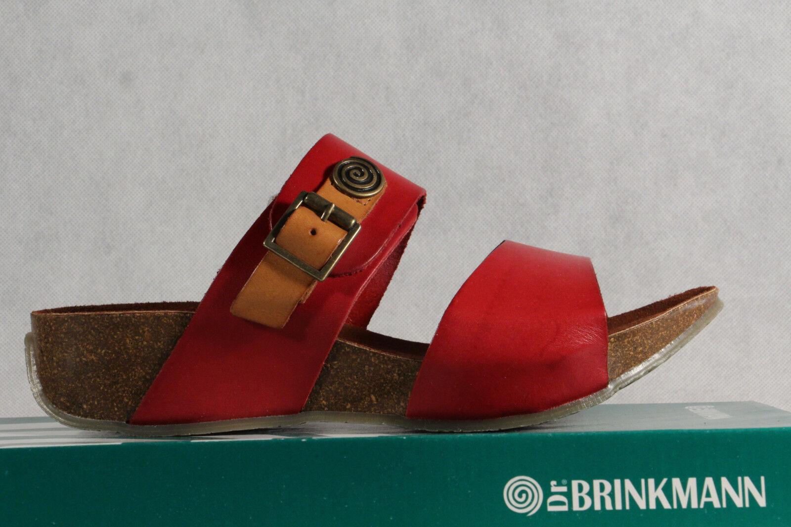 Dr. Brinkmann Sandalias de Mujer Zapatilla Cuero Auténtico Rojo Nuevo