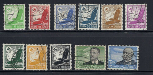GERMANY 1934 AIRMAILS (Scott C46-56) F/VF USED