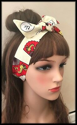 Hair Tie Headband Bandana Gold Dragon Chinese Fabric Kanji Headscarf New Year