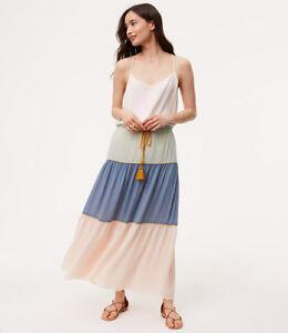 22618a6848 NWT Ann Taylor LOFT tassled poolside maxi skirt blue pink green ...