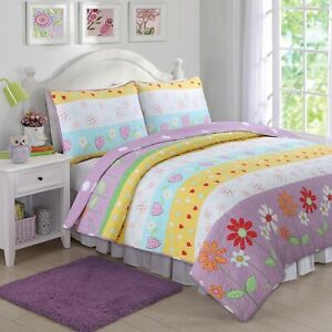 bedspread 41-42 All For You 3PC quilt set coverlet-reversible-flowers-4 SIZES