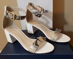 b80b59f6261 Womens Cole Haan Clarette Sandals Ankle Strap Heels Leather Python ...