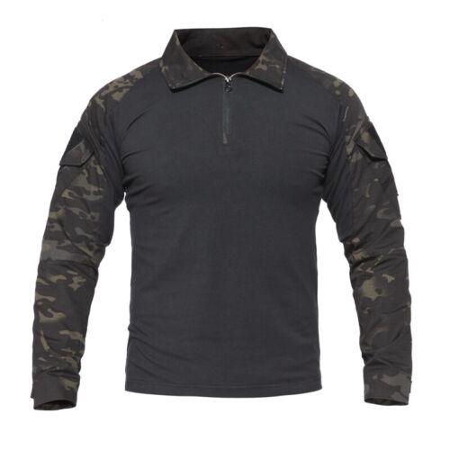 Military Mens Tactical T-Shirt Army Combat Shirt Casual Pullover T-Shirt Camo