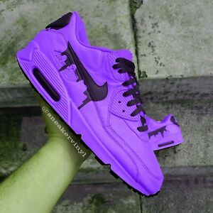 Details about Nike Air Max 90 Purple Black DRIP Custom NWT