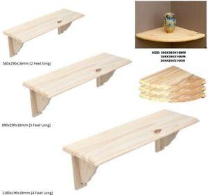 Bois-naturel-etagere-en-bois-Kit-unite-de-stockage-amp-montage-mural-etageres-d-039-angle