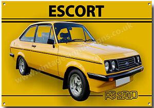 CLASSIC BRITISH CAR FORD ESCORT RS2000 MK1 METAL SIGN GARAGE//MAN CAVE SIGN.