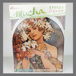 Retro-Fleurs-par-Alphonse-Mucha-Art-Nouveau-Jigsaw-Puzzle-1000-pieces