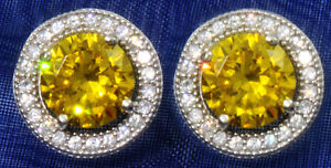2-ct-tw-Halo-Earrings-Canary-Top-Russian-CZ-moissanite-simulant-Sterling-Silver