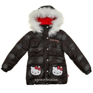 bb18ab1fa Hello Kitty Kid Girl Black Faux Fur Hooded Puffer Jacket Coat Parka ...