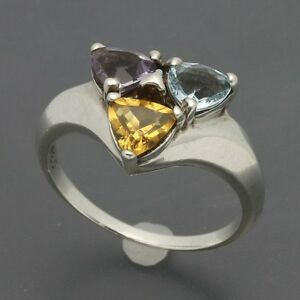 Sterling-Multi-Gemstone-Ring-Trillion-Cut-Amethyst-Citrine-amp-Blue-Topaz-Sz-8-75