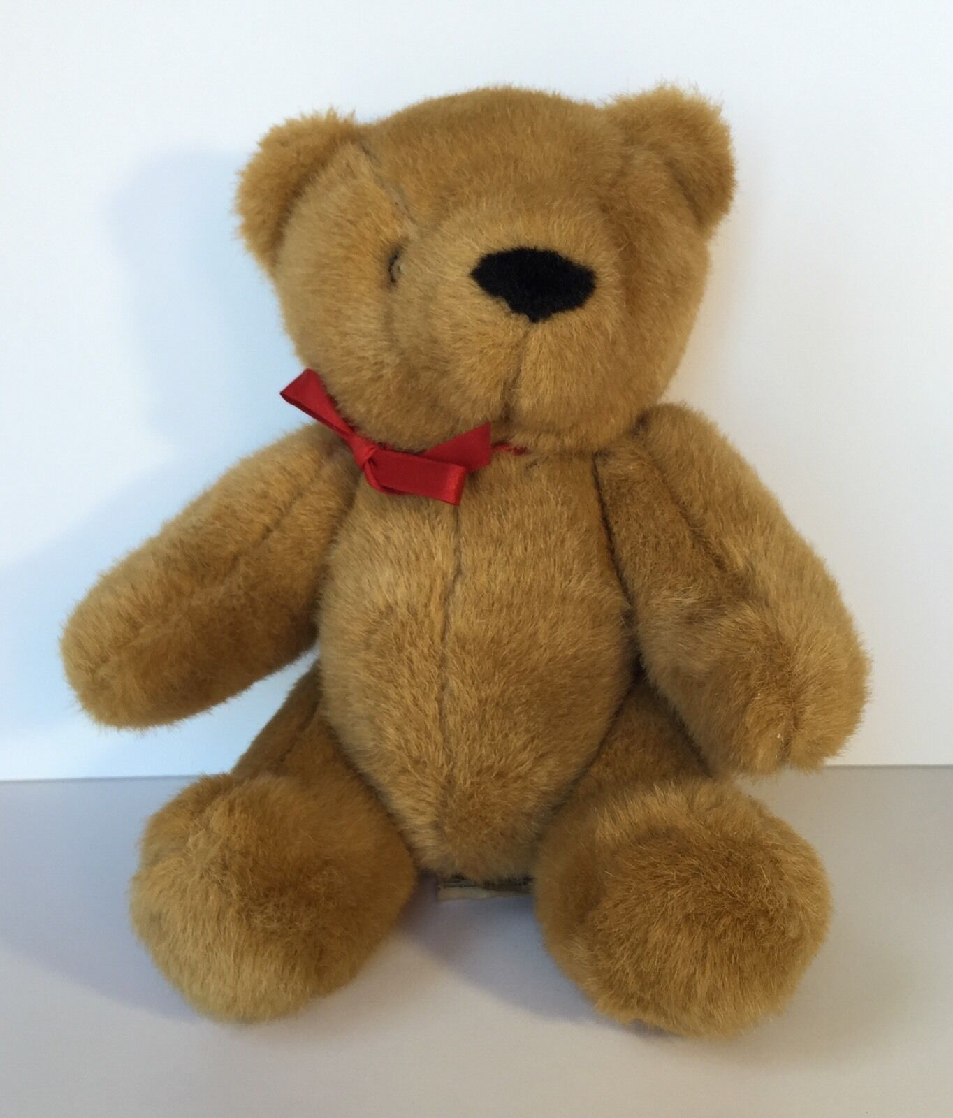 Vintage IKEA Sweden Braun Teddy Bear ROT Ribbon Jointed Plush