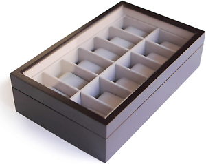 Solid Espresso 12 Slot Wood Watch Box Organizer With Glass Display Top By Case
