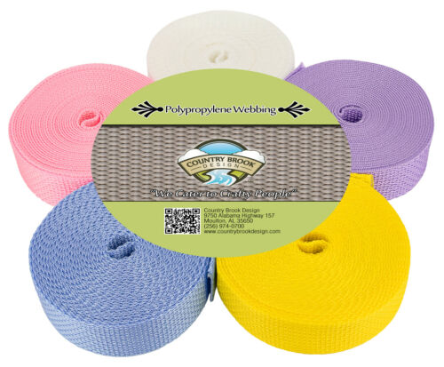Country Brook Design® 1 Inch Polypro Webbing #3 Pastels 5 Yards of 5 Colors