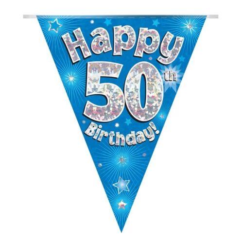 Blue Stars Holographic Happy 50th Birthday BuntingFlag BannerDecoration