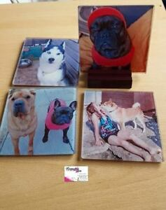 Personalised GLASS Coasters With any Image, Photo,Text - Square
